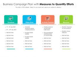Business Campaign Plan With Measures To Quantify Efforts