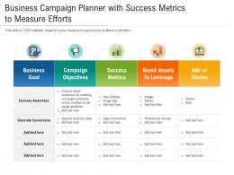 Business Campaign Planner With Success Metrics To Measure Efforts