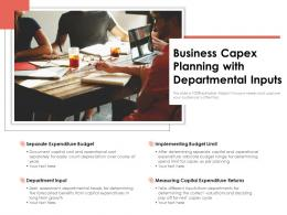 Business Capex Planning With Departmental Inputs