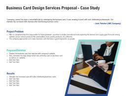 Business Card Design Services Proposal Case Study Ppt Powerpoint Presentation Example File