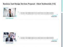 Business Card Design Services Proposal Client Testimonials Communication Ppt Powerpoint Show