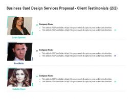 Business Card Design Services Proposal Client Testimonials Teamwork Ppt Powerpoint Gallery