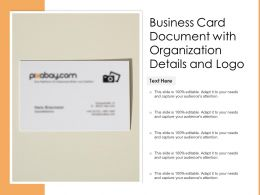 Business Card Document With Organization Details And Logo