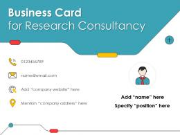 Business Card For Research Consultancy Infographic Template