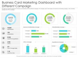 Business Card Marketing Dashboard With Different Campaign