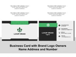 Business Card With Brand Logo Owners Name Address And Number