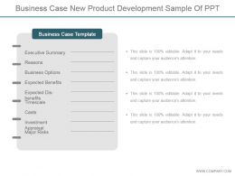 Business Case New Product Development Sample Of Ppt