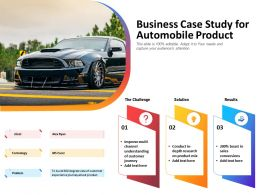 Business Case Study For Automobile Product