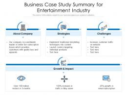 Business Case Study Summary For Entertainment Industry