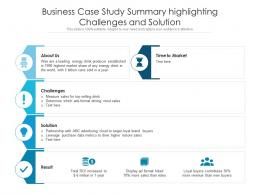 Business Case Study Summary Highlighting Challenges And Solution