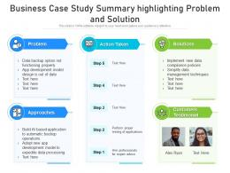 Business Case Study Summary Highlighting Problem And Solution