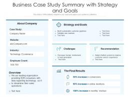 Business Case Study Summary With Strategy And Goals