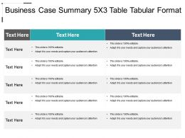 Business Case Summary 5x3 Table Tabular Format