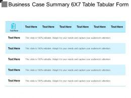 Business Case Summary 6x7 Table Tabular Form