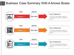 Business Case Summary With A Arrows Boxes