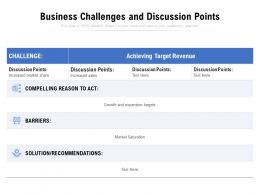 Business Challenges And Discussion Points