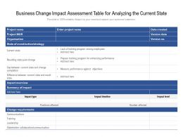 Business Change Impact Assessment Table For Analyzing The Current State