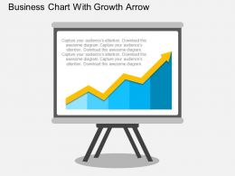 Business Chart With Growth Arrow Flat Powerpoint Design