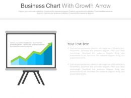 Business Chart With Growth Arrow For Finance Powerpoint Slides