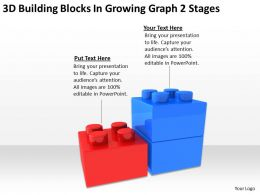 Business Charts 3d Building Blocks Growing Graph 2 Stages Powerpoint Templates