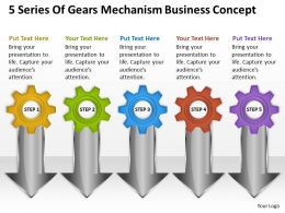 Business Charts 5 Series Of Gears Mechanism Concept Powerpoint Slides