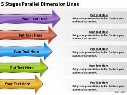 Business Charts Examples 5 Stages Parallel Dimension Lines Powerpoint Slides