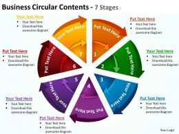 business circular contents pie chart and triangular pieces 7 stages powerpoint templates 0712