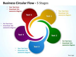 business circular flow 5 stages powerpoint templates graphics slides 0712