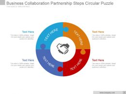 Business Collaboration Partnership Steps Circular Puzzle Ppt Slide