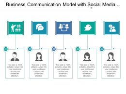 Business Communication Model With Social Media Showing Five Points