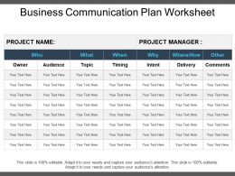 Business Communication Plan Worksheet Powerpoint Templates