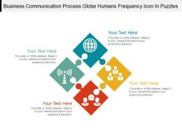 Business Communication Process Globe Humans Frequency Icon In Puzzles