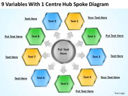 Business Concept Diagram 9 Variables With 1 Centre Hub Spoke Powerpoint Templates