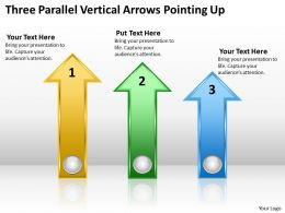 Business Concept Diagram Three Parallel Vertical Arrows Pointing Up Powerpoint Slides