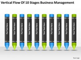 Business Concept Diagram Vertical Flow Of 10 Stages Management Powerpoint Templates