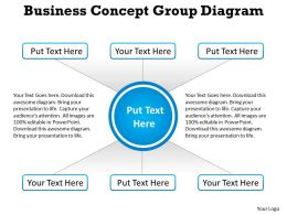 business concept group diagram with circle in center and squares powerpoint templates 0712