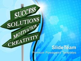 Business Concept Presentation Solutions Road Signs Success Ppt Slide Powerpoint