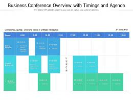Business Conference Overview With Timings And Agenda