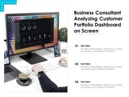 Business Consultant Analyzing Customer Portfolio Dashboard On Screen