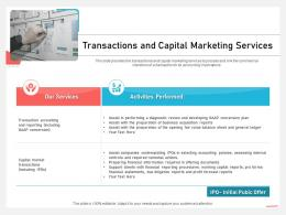 Business Consulting Advisory Services Transactions And Capital Marketing Services Plan Ppt Tips