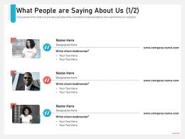 Business Consulting Advisory Services What People Are Saying About Us Communication Ppt Themes