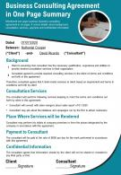 Business Consulting Agreement In One Page Summary Presentation Report Infographic PPT PDF Document