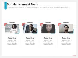 Business Consulting And Advisory Services Our Management Team Ppt Gallery Elements