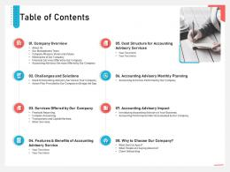 Business Consulting And Advisory Services Table Of Contents Team Ppt Tips