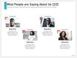 Business Consulting And Advisory Services What People Are Saying About Us Teamwork Ppt Show