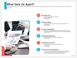 Business Consulting And Advisory Services What Sets Us Apart Technical Ppt Outfit