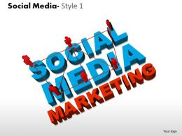 Business Consulting Social Media 3d Men Connected Social Media Marketing Powerpoint Slide Template