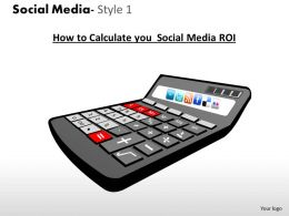 Business Consulting Social Media Calculator Twitter Facebook Flicker Wi Fi Icons Powerpoint Slide Template