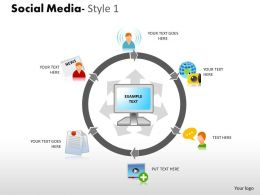 Business Consulting Social Media Circular Diagram With Social Media Icons Powerpoint Slide Template