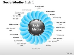 Business Consulting Social Media Flower Shape Social Media Center Text Petals Powerpoint Slide Template